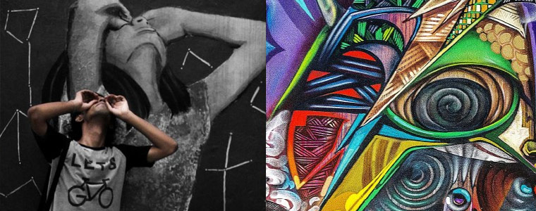 Split image: on the left a person looking upward with painting in background, on the right an outdoor wall mural