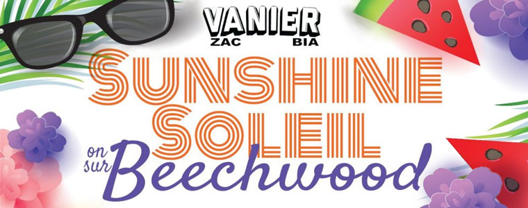 Sunshine on Beechwood text with images of summer: sunglasses, watermelon, flowers